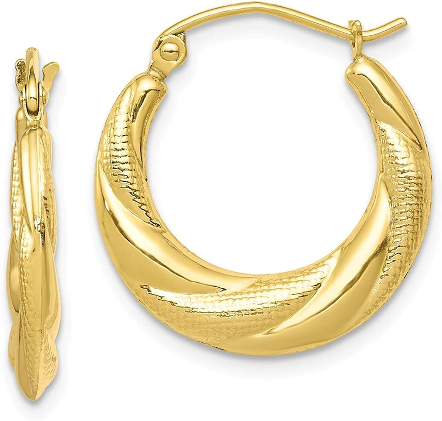Beautiful Yellow gold 10K Yellowgold 10K Textured Scalloped Hollow Hoop Earrings