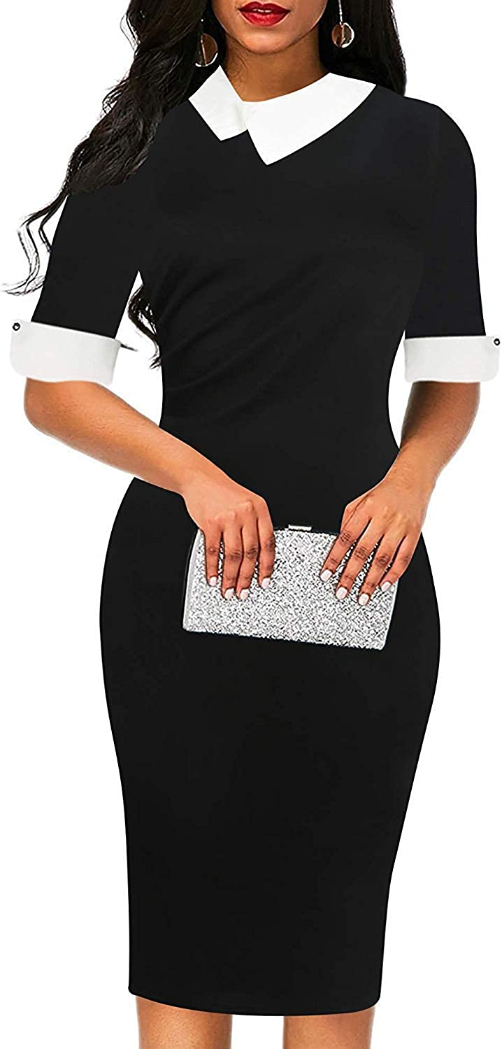 oxiuly Women's Retro Bodycon Excellent Knee-Length Formal Dresses P Office Memphis Mall