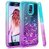 Maxdara Case for Galaxy S5 Glitter Case Gradient Liquid Quicksand Bling Sparkle Pretty Luxury Fashion Diamond Rhinestone Clear TPU Protective for Girls Women Galaxy S5 Case (Teal Purple)