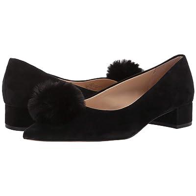 SOLE / SOCIETY Mirem (Black Kids Suede/Faux Fur Pom Poms) High Heels