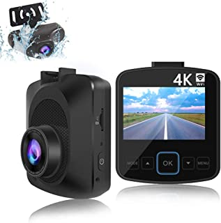 EWAY Dual Lens Car Dash Cam 4K WiFi with Phone App External GPS Front and Rear Camera, Camera Recorder 2.4 LCD Screen, Included 32GB Card,