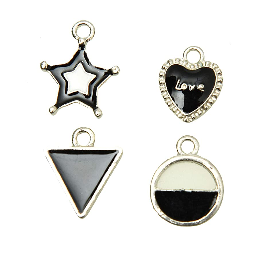 Monrocco 40 Pieces Geometric Charms Enamel Charms? Triangle Charms Circle Charms Pentagram Charms Heart Charm DIY Necklace Pendant for Handmade Jewelry