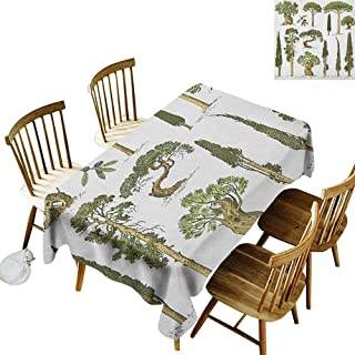 kangkaishi Oil-Resistant and Durable Long Tablecloth Kitchen Available Hand Drawn Trees Pine Olive Cypress and Fir Tree Forest Growth Ecology Outdoors W14 x L108 Inch Pale Brown Green