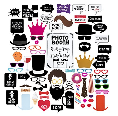 Wedding Photo Booth Props – Set with Chalkboard Style White Sign, Wooden Sticks and Stand – 75 Pieces