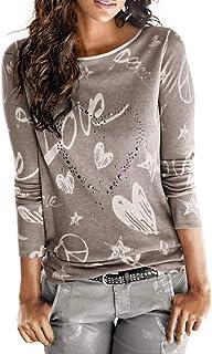 SHOBDW Mujeres Camiseta de Manga Larga con Cuello Redondo y Camisa Impresa Moda Casual Primavera Otoño Blusa Algodón Suelt...