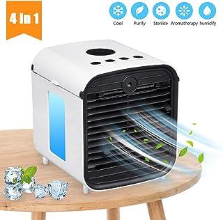 Nifogo Aire Acondicionado Portátil Air Mini Cooler Climatizador Evaporativo - 4 en 1 Ventilador, Humidificador, Purificador de Aire y Difusor de Aroma 3 Velocidade 7 Colores Luces