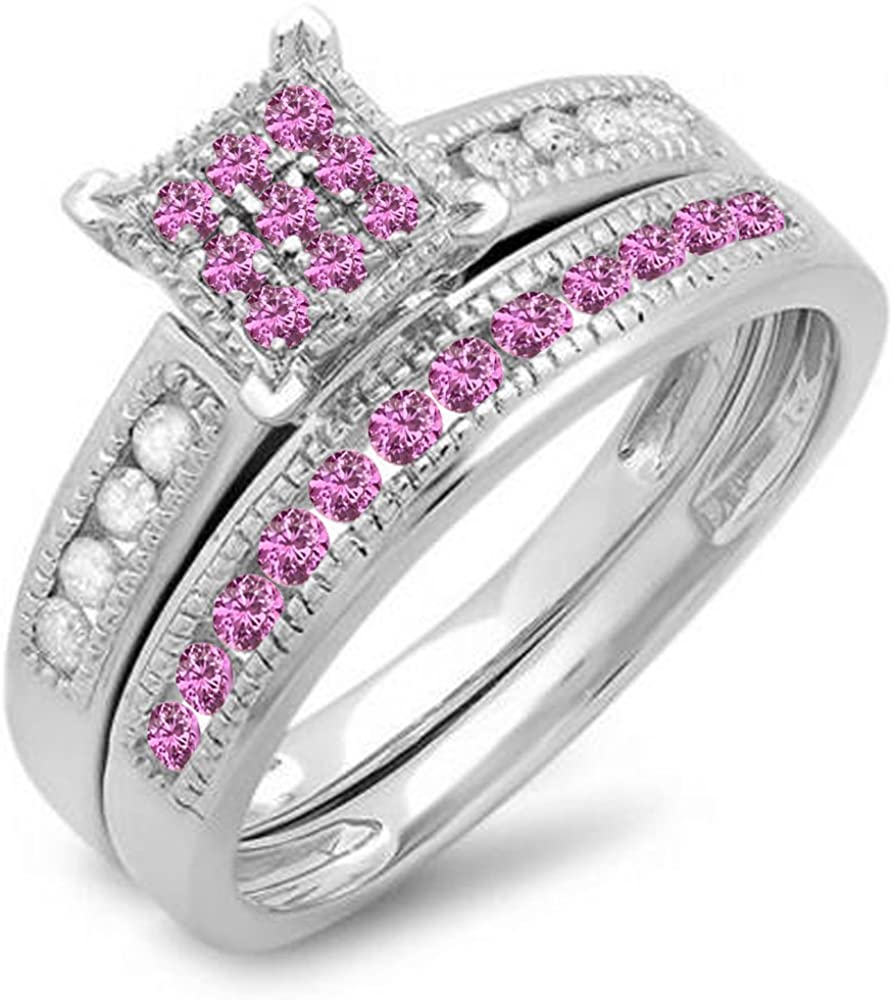 Free shipping anywhere in the New product! New type nation Dazzlingrock Collection Round Pink Ladi White Sapphire Diamond