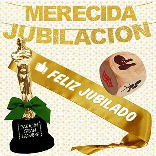 Inedit Festa Jubilado Feliz Fiesta Jubilación Guirnalda Banda Honorífica y Figura Trofeo Gran Hombre