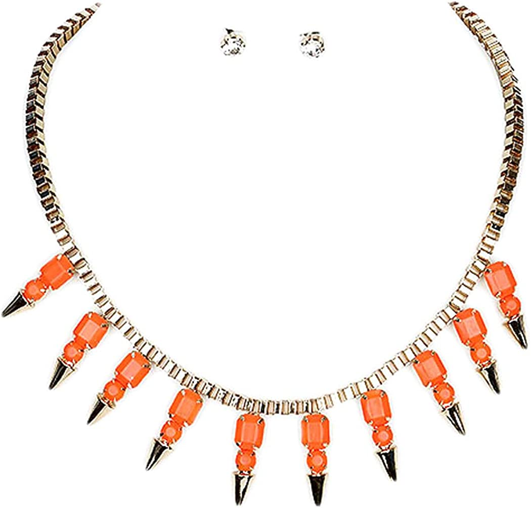 Fashion Jewelry ~ Orange Spike Necklace and Earrings Set for Women Teens Girlfriends Birthday Gifts
