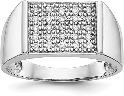 14k White Gold Diamond Band Ring Size 10.00 Man Fine Jewelry Gift For Dad Mens For Him
