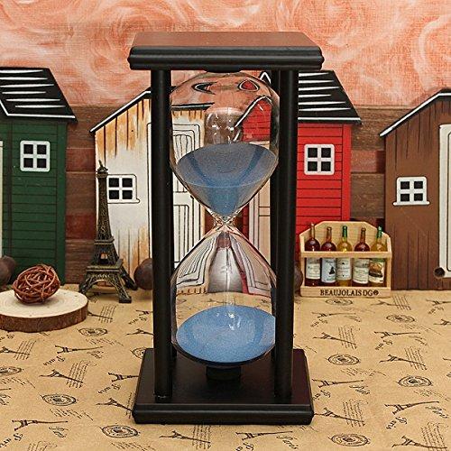 Bluelover 60 Minuti in Legno Telaio Clessidra Clessidra Sand Timer Home Decor Gift - Nero + Blu