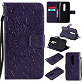 Guran® Funda de Cuero para Motorola Moto X Style 5.7' Smartphone Función de Soporte con Ranura para Tarjetas Flip Case Cover-púrpura