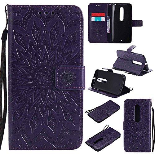 pinlu PU Leder Tasche Etui Schutzhülle für Moto X Style (5,7 Zoll) Lederhülle Schale Flip Cover Tasche mit Standfunktion Sonnenblume Muster Hülle (Lila)