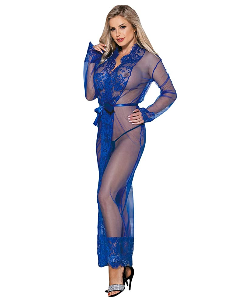 Erotic Clothing Sexy Lingerie Erotic Pajamas Dress Babydoll Women Lace Perspective Seductive Nightdress Thong Set - Multi Size Options (Color : Blue, Size : XL)