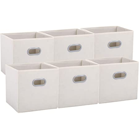 Amazon Brand – Umi Cube de Rangement Tissu, Panier de Rangement, Caisse de Rangement, casier Rangement, Rangement Vetement, Boite de Rangement Tissu,30,5 x 30,5 x 30,5, Beige