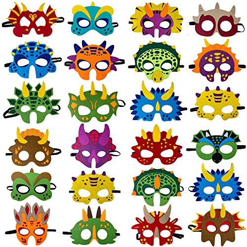 Dinosaur Masks Party Supplies (24 Packs) Felt and Elastic for Kid – Dinosaur Party Decorations with 24 Masks Different Types – Great Idea for Birthday Party