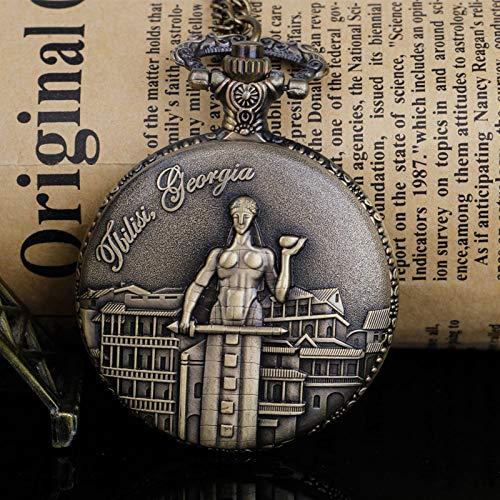 Reloj de bolsillo de cuarzo de diseño clásico con colgante de bronce para hombres y mujeres
