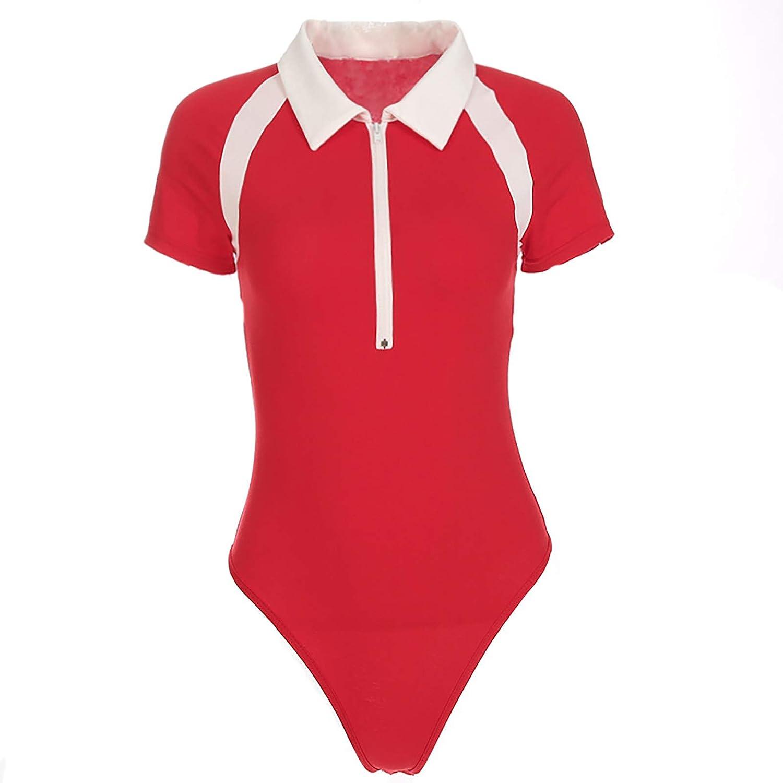 Womens Bodysuit for Contrast Zipper Short-Sleeved One Piece T-Shirt