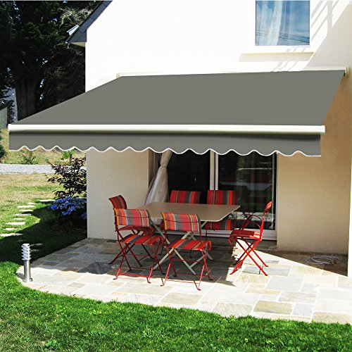 Greenbay Manual Awning Canopy | Grey 3x2.5M Retractable Outdoor Patio Garden Sun Shade Shelter Complete with Fittings and Winder Handle