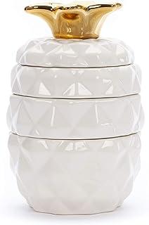 Tri-Coastal Design - 4 keramiska mätkoppar, set med 4 dekorativa keramiska bakningsmuggar och kannor, söta kökstillbehör (...