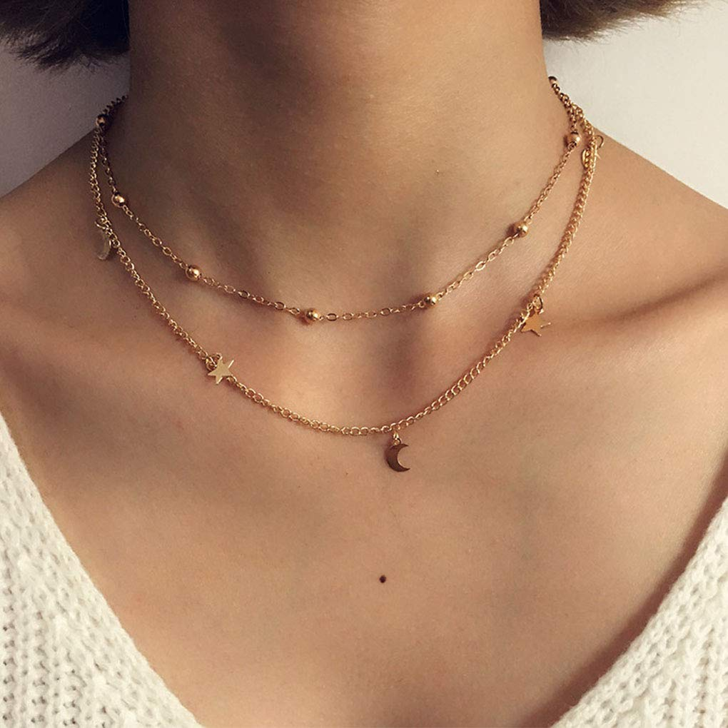 Olbye Moon Star Necklace Layered Satellite Necklace Choker Double Chain Gold Necklace for Women and Girls (2 Layer)