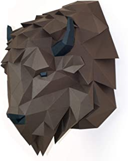 Paperraz 3D Bison Head Animal Building Trophy Puzzle Low Poly PaperCraft Kit for Adults & Teens - NO Scissors Needed