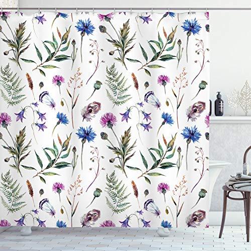 ABAKUHAUS Distel Duschvorhang, Wildblumen im Frühling, mit 12 Ringe Set Wasserdicht Stielvoll Modern Farbfest & Schimmel Resistent, 175x180 cm, Mehrfarbig