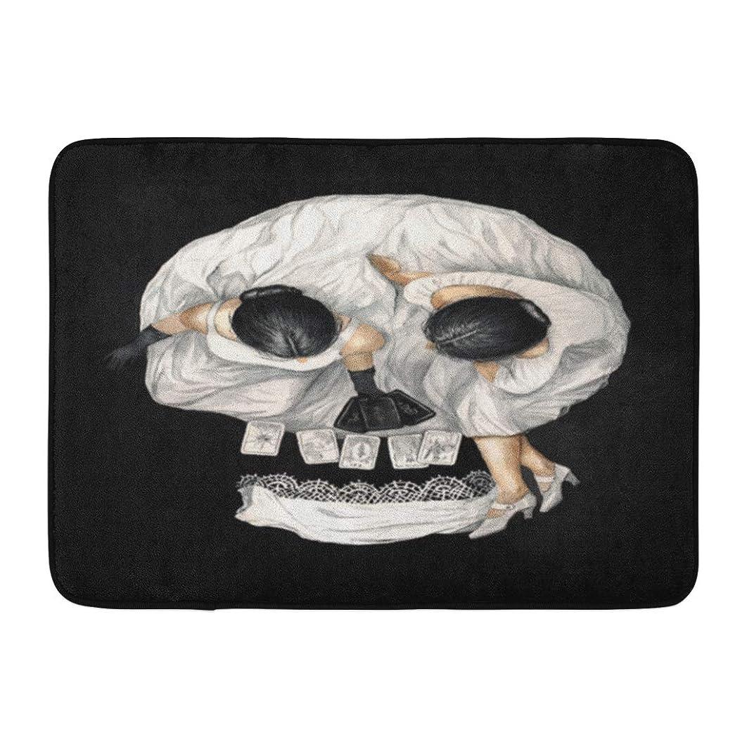 Emvency Doormats Bath Rugs Outdoor/Indoor Door Mat Watercolor Gypsy Tarot Reader Girl Optical Skull Portrait Scary Abstract Bathroom Decor Rug Bath Mat 16