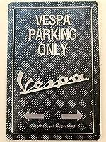 TIBBNG ベスパの駐車場のみバイク/車 ヴィンテージスタイル色落ち金属壁サインリビング、ティンサインプラークポスター壁アート装飾用屋外カフェバーレストランパブ