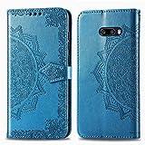 Bear Village Hülle für LG G8X ThinQ/LG G8X, PU Lederhülle Handyhülle für LG G8X ThinQ/LG G8X, Brieftasche Kratzfestes Magnet Handytasche mit Kartenfach, Blau