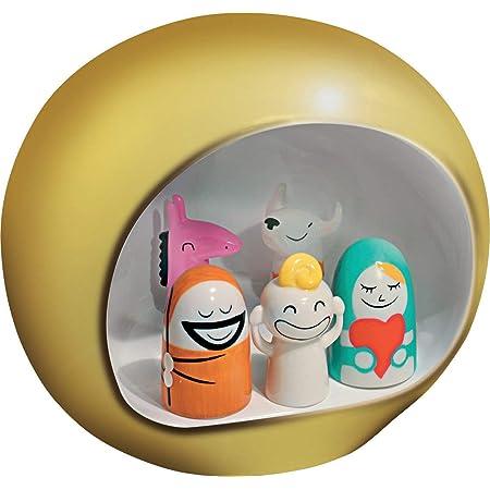 Alessi AMGI10 GD Crèche Design en Porcelain Decorè à La Main avec Reproduction de la Grotte et Set de Figurines, Or, 5 Pièces