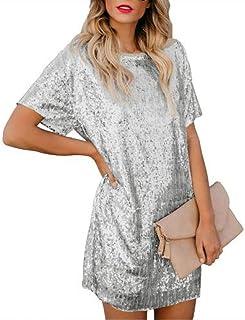 فستان تونك قصير قصير الأكمام للحفلات مزين بالترتر بألوان فضفاضة