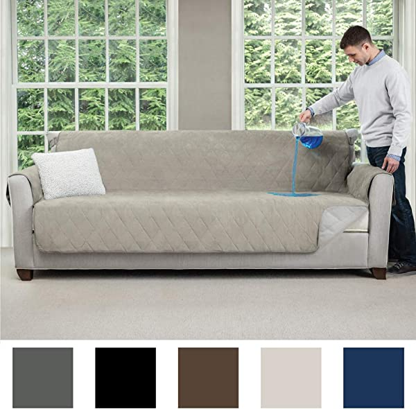 MIGHTY MONKEY Premium Slip And Water Resistant Oversize Sofa Slipcover Seat Width Up To 78 Inch Oeko Tex Certified Suede Like Absorbs 6 Cups Of Water Cover For Couches Dogs Sofa Linen