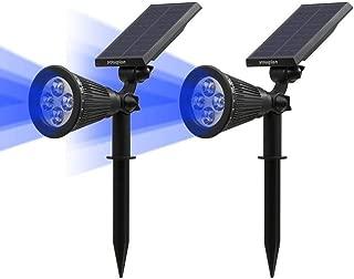 Youqian Solar Spotlights 2-in-1 Outdoor Landscape Lighting Waterproof 4 LED Adjustable Spotlight Wall Light Auto On/Off Security Night Lights for Patio Yard Garden Driveway Pathway Pool (2 Pack, Blue)
