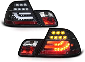 VIPMOTOZ Black Bezel Premium OLED Neon Tube LED Tail Light Housing Lamp Assembly For 2000-2003 BMW E46 3-Series Pre-LCI Coupe Driver and Passenger Side Replacement