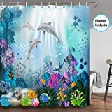 JAWO Dolphin Shower Curtain, Blue Ocean Tropical Fish Coral Underwater Sea Animal Dolphin Bathroom Curtains Set, Fabric Dolphin Bathroom Shower Curtain with Hooks, 70 in