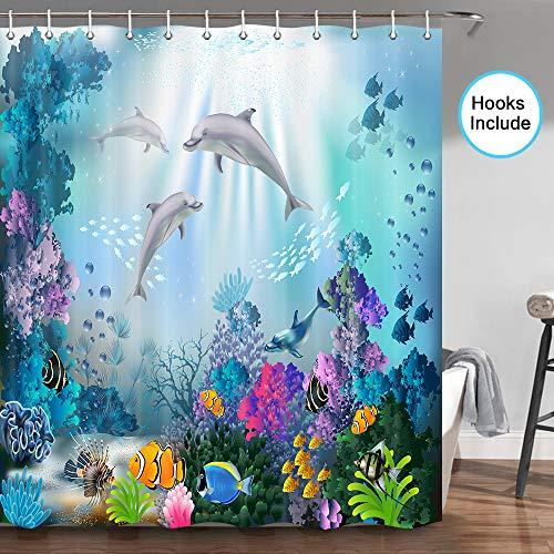 JAWO Delphin Duschvorhang, blauer Ozean, tropische Fische, Koralle, Unterwasser-Meerestiere, Delfin-Badezimmervorhänge-Set, Stoff, Delfin-Badezimmerduschvorhang mit Haken, 178,8 cm