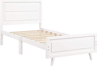 Harper & Bright Designs Wood Platform Bed Twin Bed Frame Mattress Foundation with Headboard and Wood