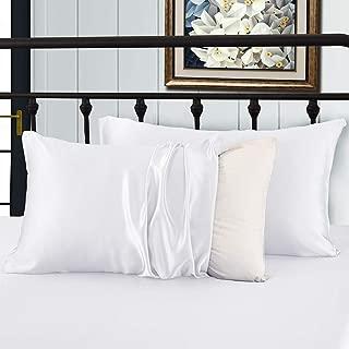 XUANDIAN Satin Pillowcases King Silk Pillowcases for Hair and Skin Microfiber Pillowcase Pillow Cover,White,Set of 2