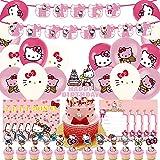 Hello Kitty Party Decoraciones -Tomicy 42 PCS Decoraciones Cumpleaños de Fiesta, Invitaciones para Niños, Banner de Feliz Cumpleaños, Globos y Adornos de Pastel para el Tema de Cumpleaños