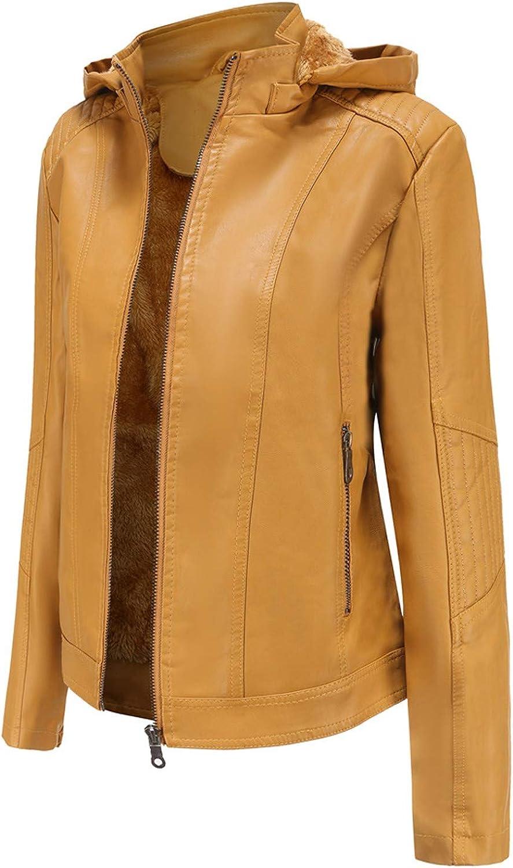 Women's Removable Hooded Faux Leather Moto Biker Jacket Winter Warm Plus Cashmere Plush Zip Up Long Sleeve Hoodie Coat