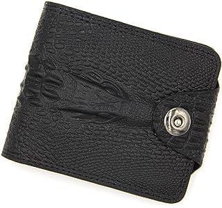 BeniMen's wallet short large capacity multi-function crocodile pattern magnetic buckle wallet-black