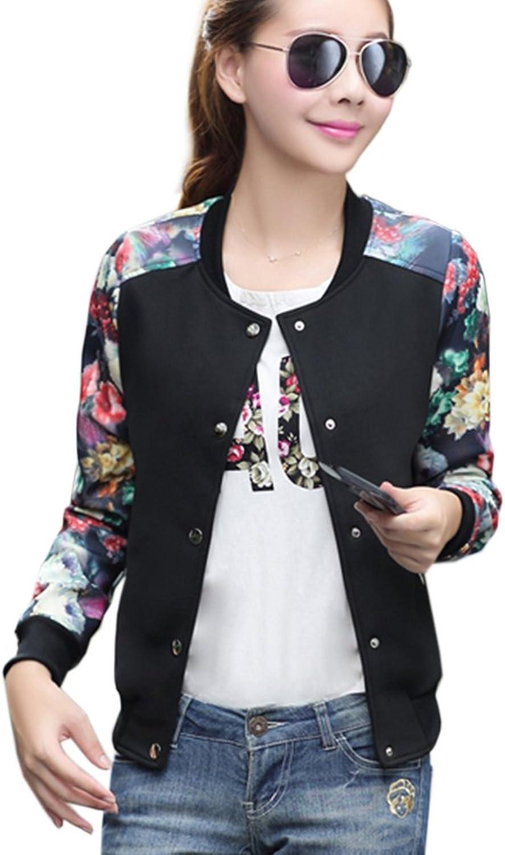 Hellomamma Women's Floral Print Baseball Bomber Jacket Biker Slim Fit Casual Button Closure Outwear