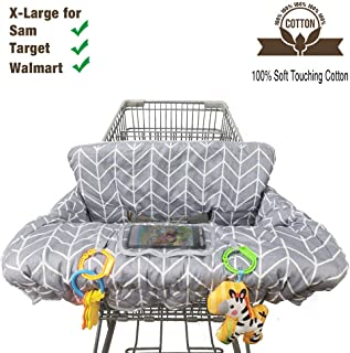 Shopping Cart Cover for Baby Cotton High Chair Cover Reversible Full Safety Harness, Machine Washable for Infant, Toddler, Boy or Girl Large (Grey Arrow Print)