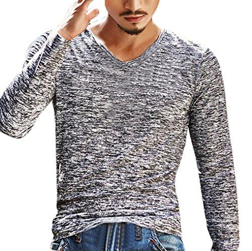 Luckycat Herren Solide V-Ausschnitt Langarm T-Shirt Top Schlanke Bluse Men's V-Neck Langarm-Tops (Grau, EU 52-XL)