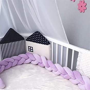 Luchild Braided Crib Bumper 78.7 inch 2m Baby Crib Bumper Knotted Braided Plush Nursery for Newborns Bed Sleep Bumper Pink+White+Grey