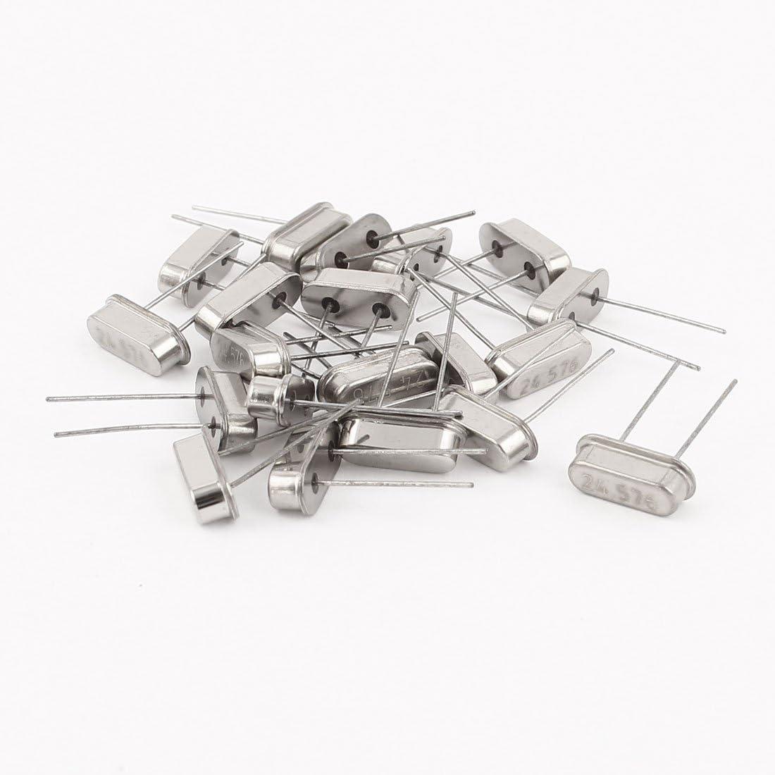 Aexit 20 Pcs Passive Components 24.576MHZ DIP Quartz Crystal Osc