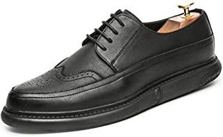 Sygjal Men's Business Oxford Casual Classic Solid Coloured Round Toe Carved Outsole Brogue Shoes Dress Shoes (Color : Yellow, Size : 43 EU)
