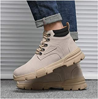Sunny&Baby Classic Ankle Boots for Men Combat Boot Lace up Suede Round Toe Platform Wear Resistant Contrast Collar Anti-Slip Rubber Sole Durable (Color : Beige, Size : 6.5 UK)