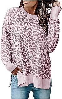 Women's Sweatshirts Casual Leopard Print Crewneck Long Sleeve Oversized Pullover Tunic Side Slit Tops Blouse